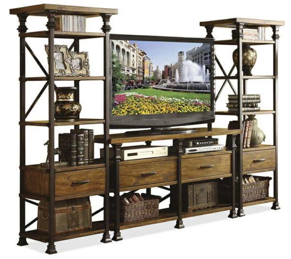 meuble-tv-vintage-colonnes-en-fer-forgé