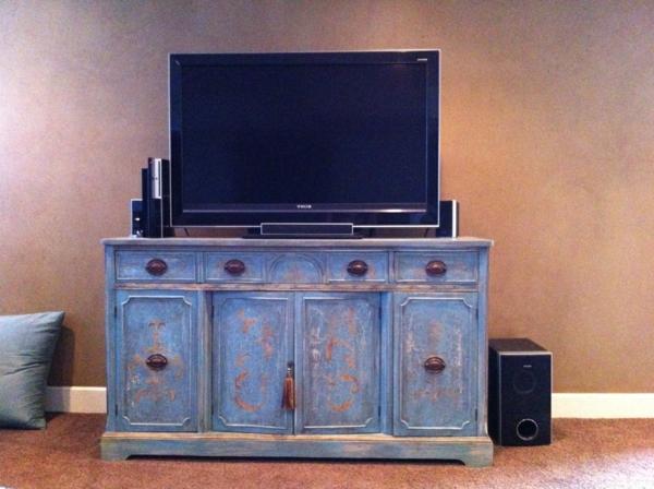 Meuble tv vintage  le manque de luxe est parfois le luxe même -> Meuble Tv Bleu