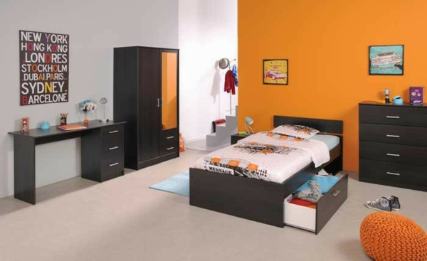 Designs de meubles parisot confort maximal et id es ct atives for Chambre ado noir et orange