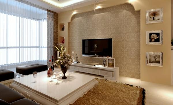 papier-peint-salle-de-séjour-en-beige