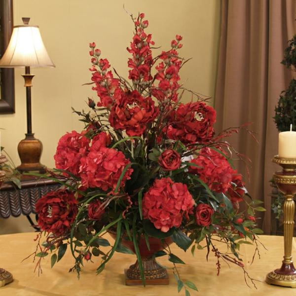 plantes-artificielles-décoration-rouge