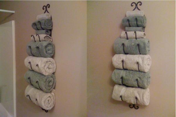 porte-serviette-de-salle-de-bain-rangement-mural-en-fer-forgé