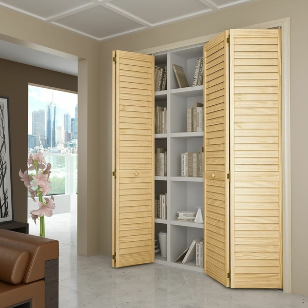 Les portes de placard pliantes pour un rangement joli et for Placard persienne coulissant
