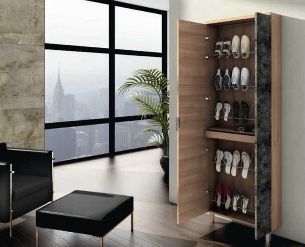 pratique-meuble-chaussures-armoire-bois-cintres-chaussures-métalliques