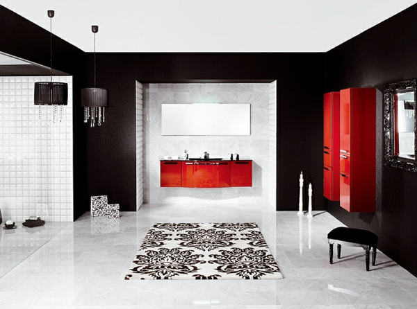 La salle de bain schmidt beaut et innovations for Salle de bain noir et rouge