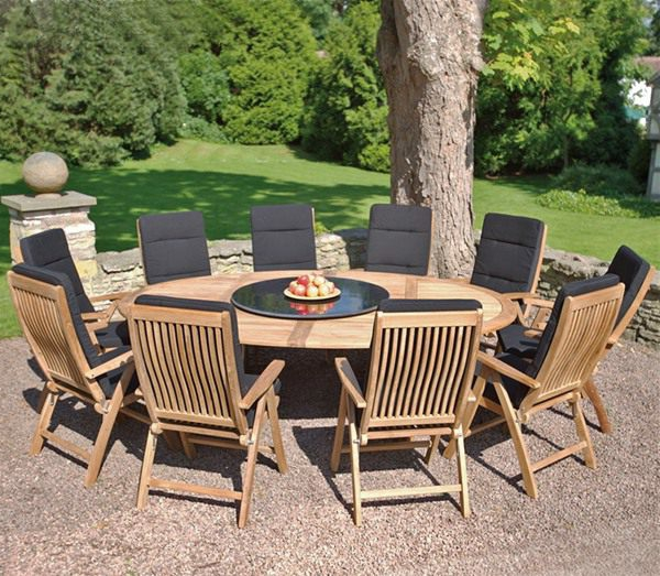 table de jardin teck ronde leclerc des. Black Bedroom Furniture Sets. Home Design Ideas