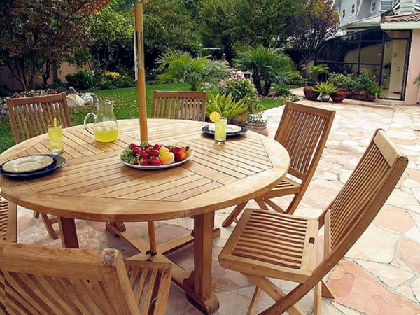 Salon De Jardin Table Ronde En Teck