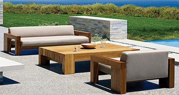Salon de jardin table basse en teck - seaandsea