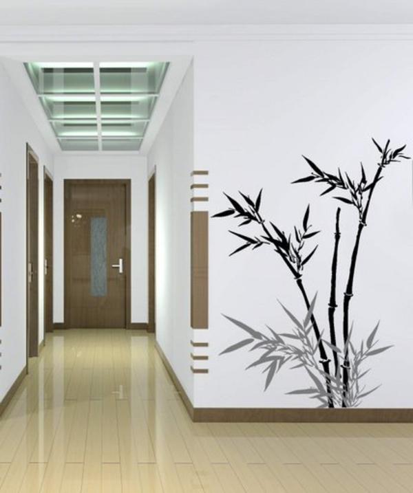 sticker-bambou-sur-le-mur-d'un-couloir