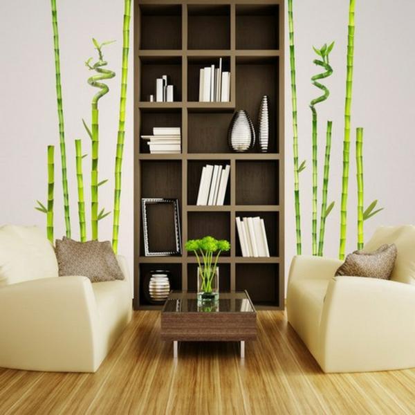 sticker-bambou-salle-de-séjour-moderne-et-stickers-bambou-verts