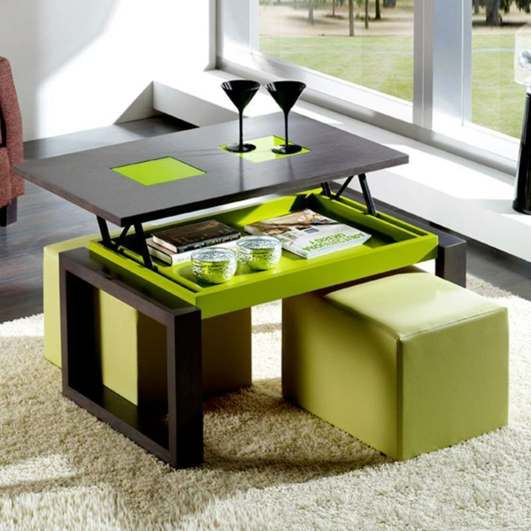Table basse qui se releve bois - Table qui se releve ...