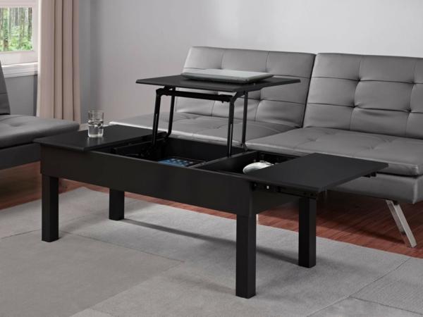 Table basse noire avec plateau relevable - Table basse design pas cher verre ...