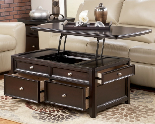 Table basse relevable avec rangement - Table de salon plateau relevable ...