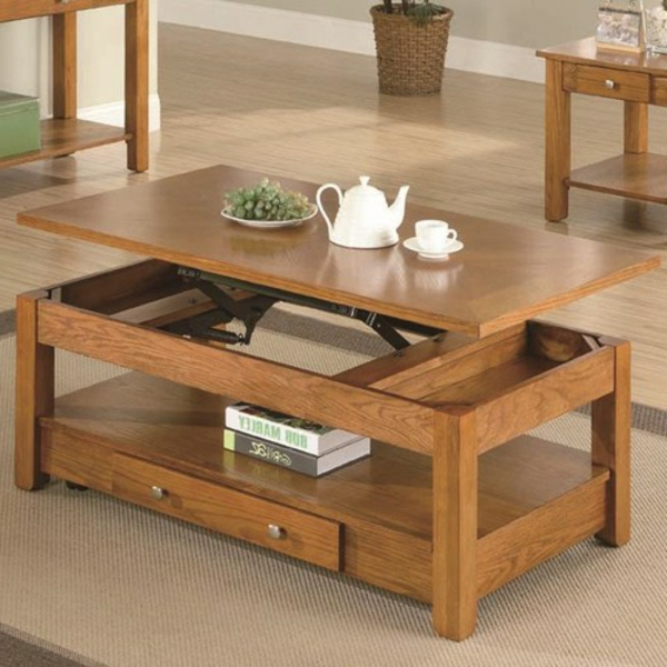 Table basse relevable bois for Table basse bois clair
