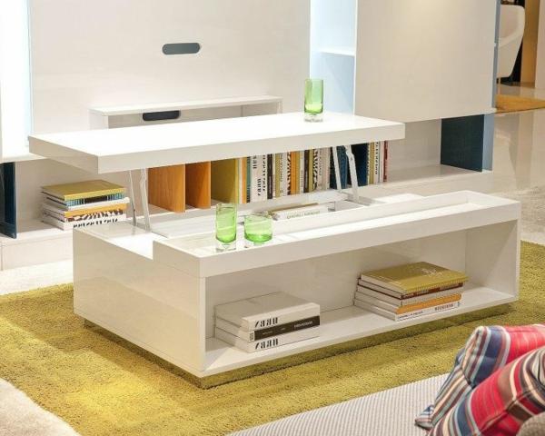 La table basse avec plateau relevable se soigne de vos - Table basse blanche plateau relevable ...