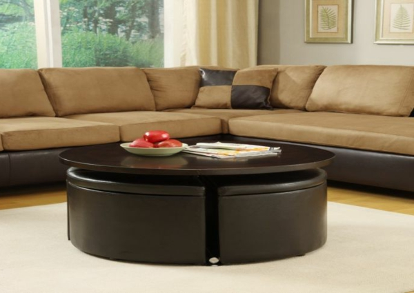 La table basse avec pouf pour un style de vie moderne - Table basse avec 2 poufs ...