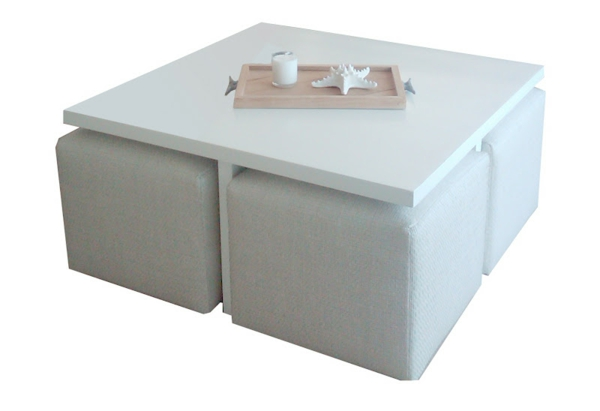 mobilier table table basse blanche avec pouf. Black Bedroom Furniture Sets. Home Design Ideas