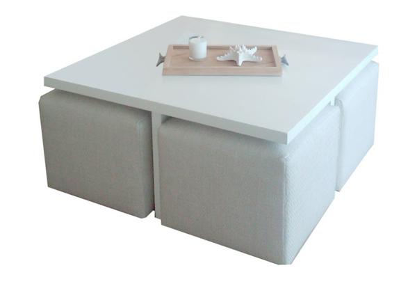Table basse en verre avec deux poufs - Table basse ronde avec poufs integres ...