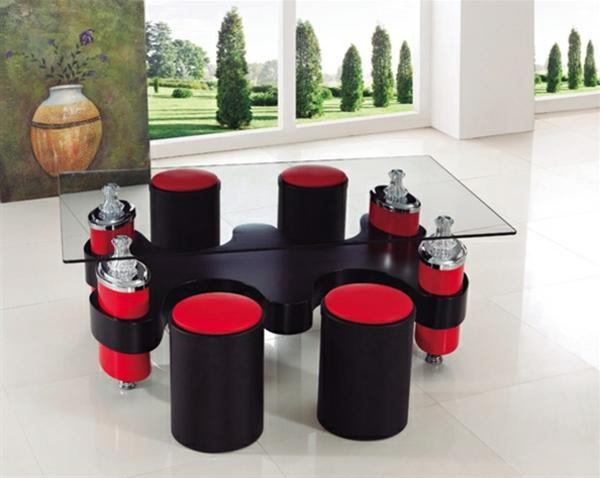 La table basse avec pouf pour un style de vie moderne - Table basse rouge et noir ...