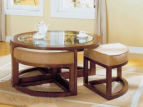 La table basse avec pouf pour un style de vie moderne - Table basse avec tabouret ...