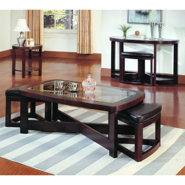 La table basse avec pouf pour un style de vie moderne - Table salon rectangulaire ...