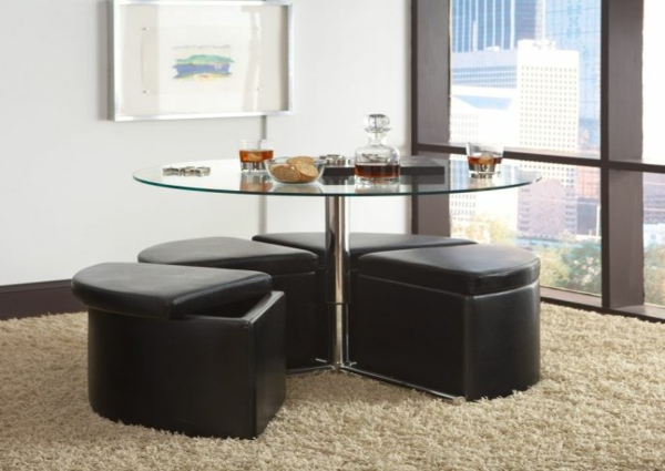 table basse avec pouf et rangement. Black Bedroom Furniture Sets. Home Design Ideas