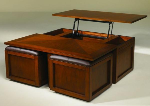 La table basse avec pouf pour un style de vie moderne - Table basse relevable avec rangement ...