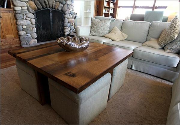 la table basse avec pouf pour un style de vie moderne. Black Bedroom Furniture Sets. Home Design Ideas