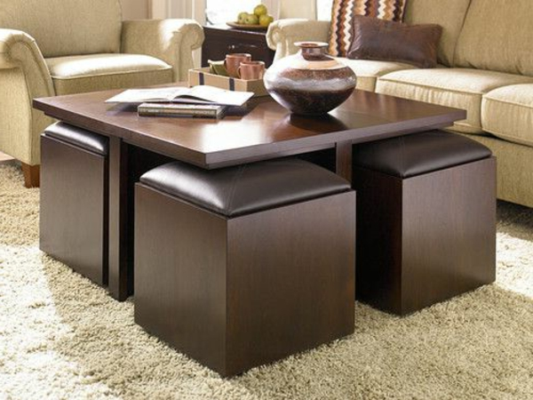 Original coffee tables images coffee table made of books furniture pinterest - Table basse avec poufs ...