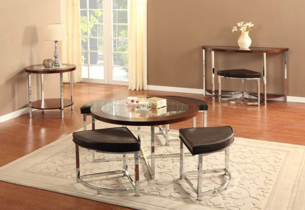 la table basse avec pouf pour un style de vie moderne. Black Bedroom Furniture Sets. Home Design Ideas