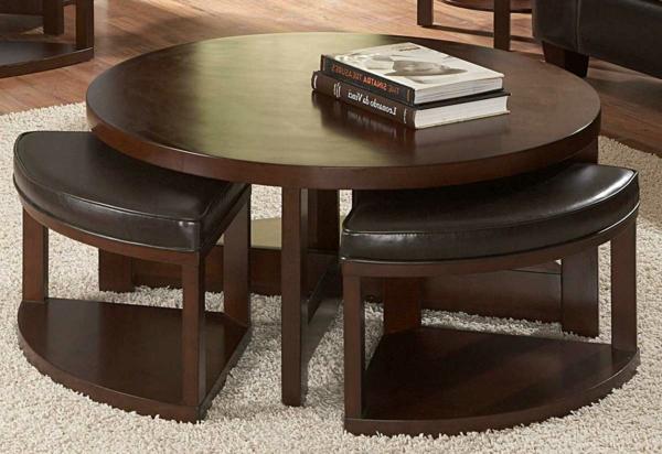 La table basse avec pouf pour un style de vie moderne - Table basse ronde avec rangement ...