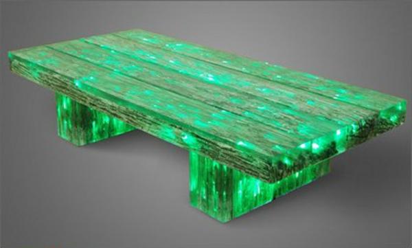 La table basse lumineuse illumine vos f tes et vos soir es - Table basse bois originale ...