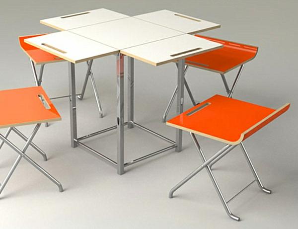 table-pliante-de-cuisine-blanche-et-chaises-oranges