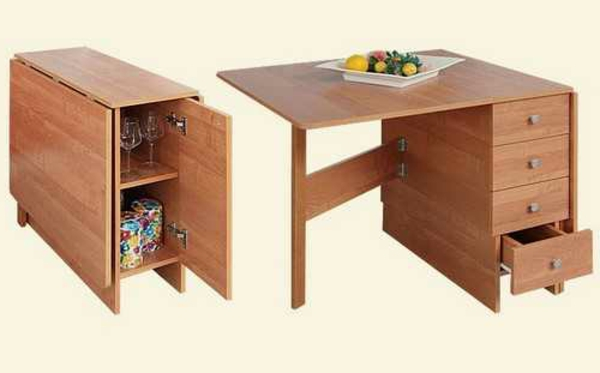 Designs cr atifs de table pliante de cuisine for Table escamotable tiroir