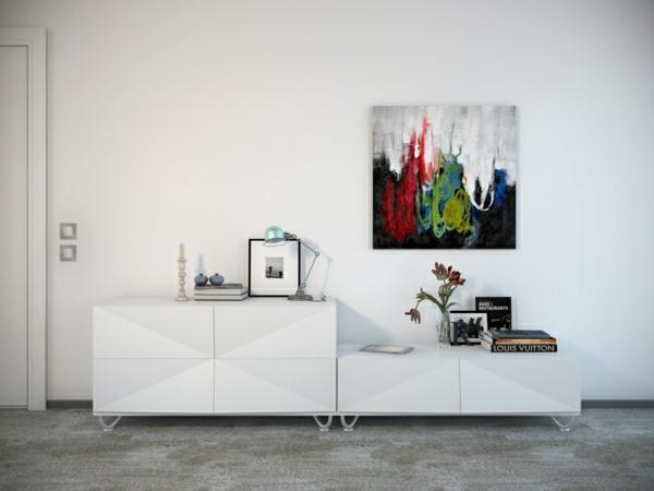 peinture-abstraite-couleurs-vivaces-placards-blancs-et-mur-blanc