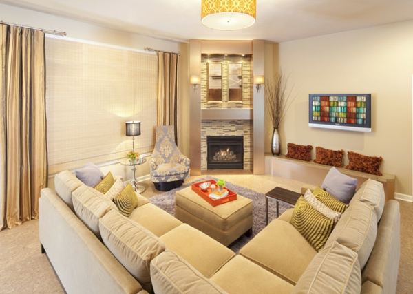 Chic-Cream-Themed-Living-Room-Idea-with-Cream-L-Shaped-Contemporary-Sectional-Sofas-Facing-Inset-Fireplace-resized