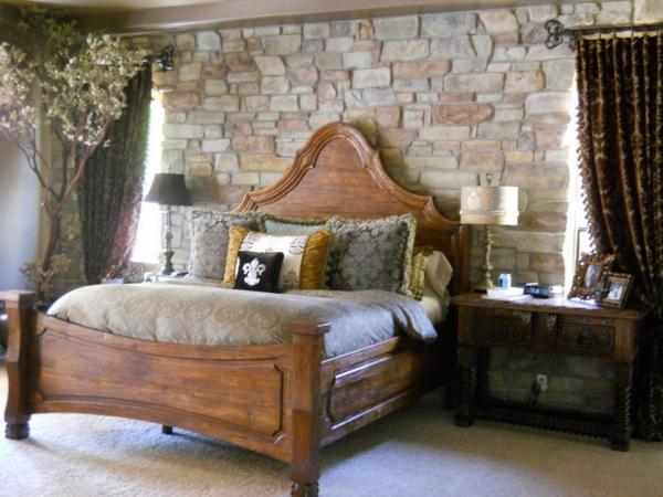 chambre-à-coucer-design-pour-votre-confort-et-un-lit-en-bois-aussi-des-drapeaux