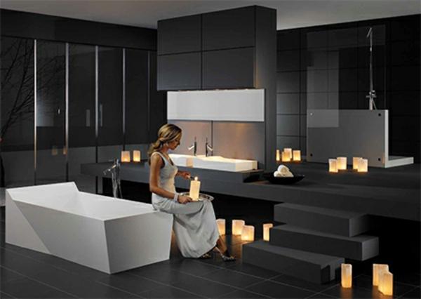 Salle de bain et d co minimaliste 117 photos uniques - Chambre avec salle de bain ouverte ...
