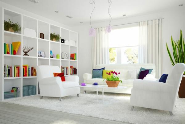 cool-frais-design-idée-pour-le-saon-moderne-avec-des-fauteuils-blanc-et-unétagère-cool-et-simple