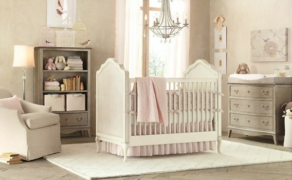 Le design de la chambre de b b modern en blanc - Chambre bebe style baroque ...