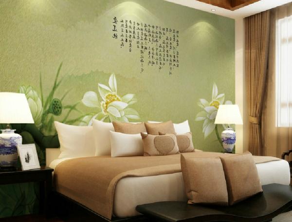 décoration-asiatique-chambre-à-coucher-jolie-décoration-murale