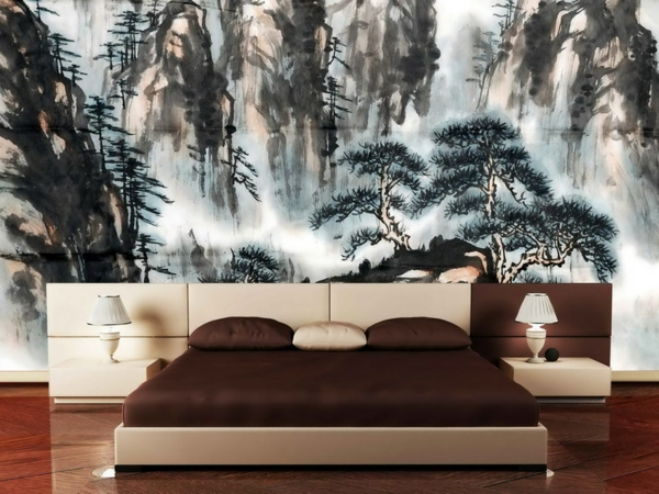 décoration-asiatique-papier-peint-décoratif