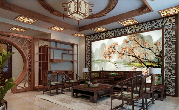 décoration-asiatique-samme-de-séjour-style-rétro