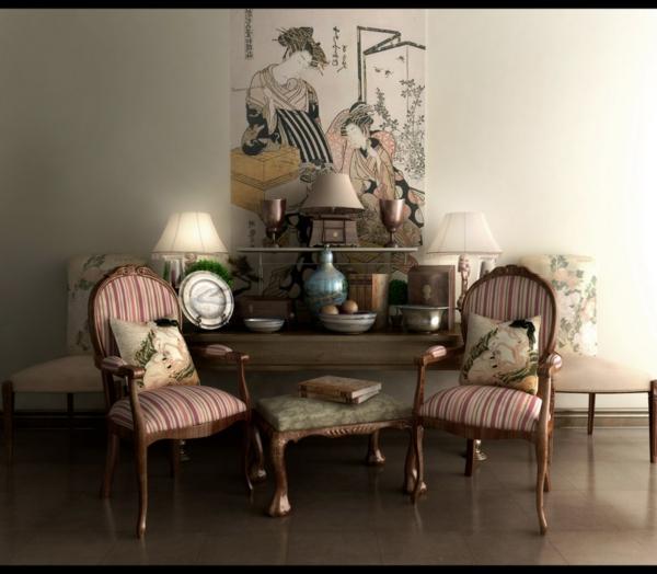 décoration-asiatique-traditionnelle-deux-chaises-roses-vintage