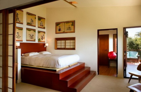 décoration-asiatique-un-lit-avec-éscalier