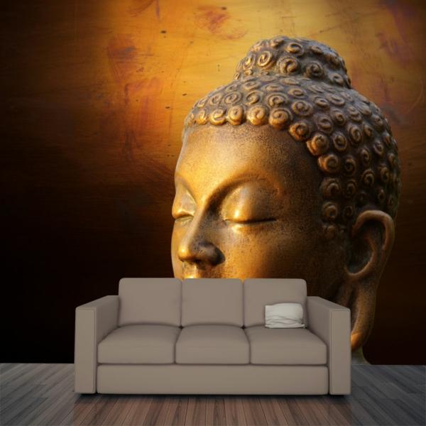 décoration-asiatique-un-sticker-mural-magnifique-statue-de-bouddha-en-or
