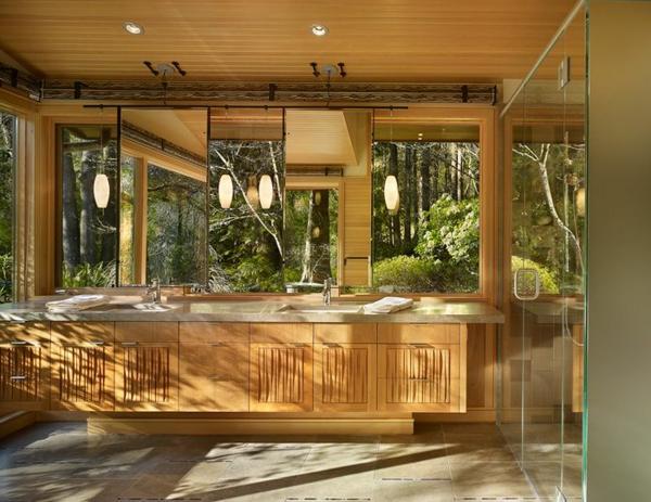 La d co de salle de bain en bois 107 photos for Meuble de salle de bain exotique