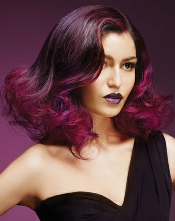 ides coiffures pour cheveux mi longs une couleur - Coloration Cheveux Aubergine