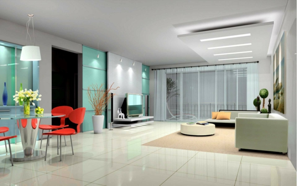 intérieur-de-la-maison-contemporaine-avec-carrelage-avec-des-chaises-rouges