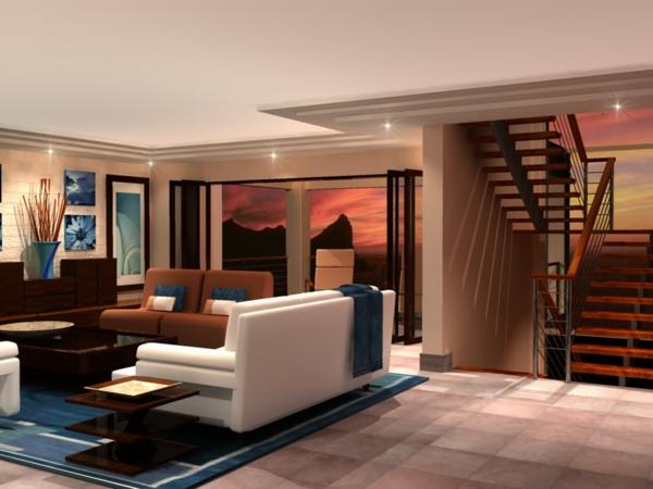 intérieur-de-la-maison-contemporaine-avec-un-canapé-unique-et-escalier-en-bois
